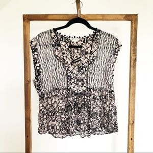 Rebecca Taylor Floral Print Silk Crepe Blouse